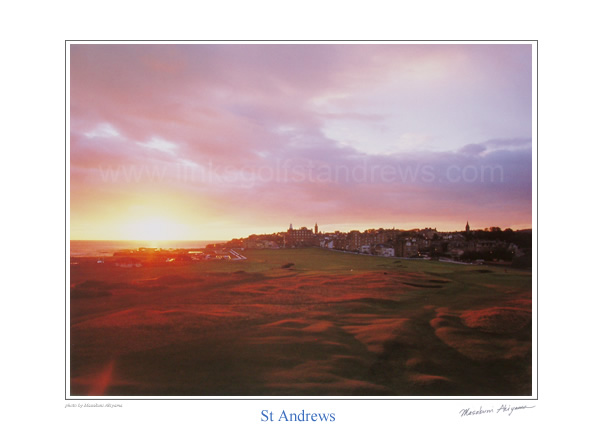 Sunrise over the Old Course, St Andrews. by Masakuni Akiyama.